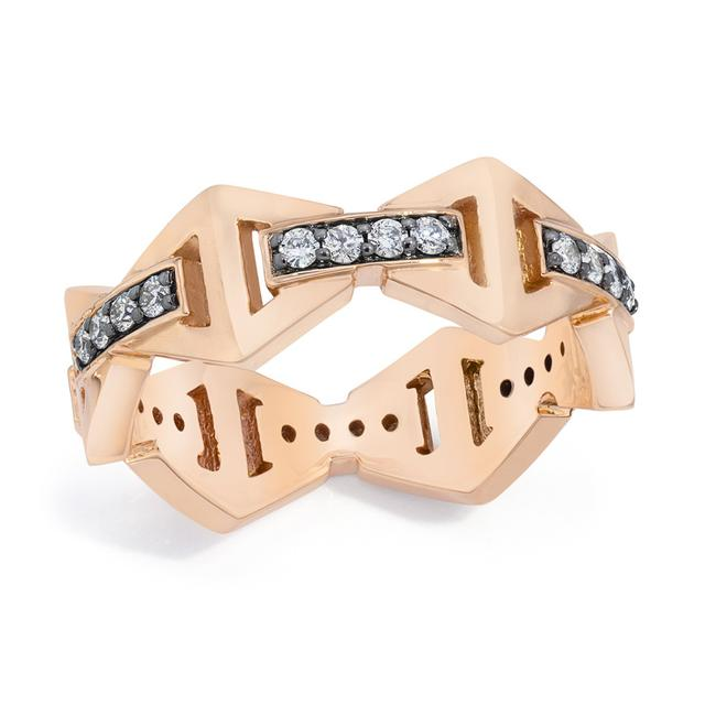 Swoonery-Keynes Diamond Bar Hexagon Stackable Ring