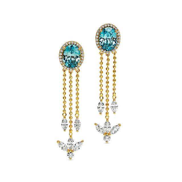 Swoonery-20K Zircon Drop Earrings