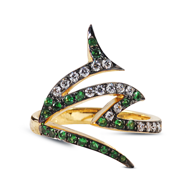 Swoonery-Le Phoenix Claw I Tsavorite and Diamond Ring
