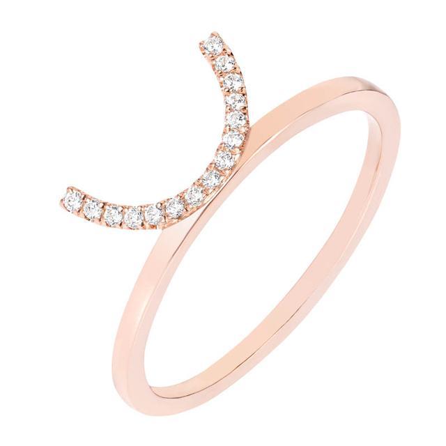 Swoonery-Diamond Crescent Ring