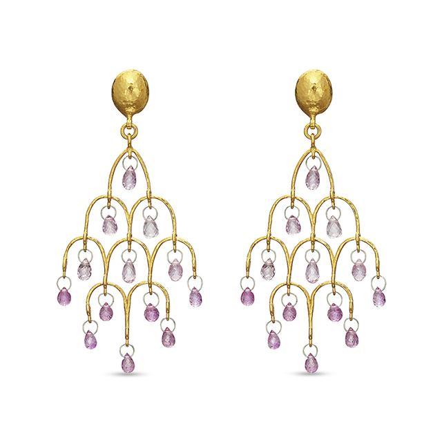 Swoonery-Pink Sapphire Delicate Dew Chandelier Earrings
