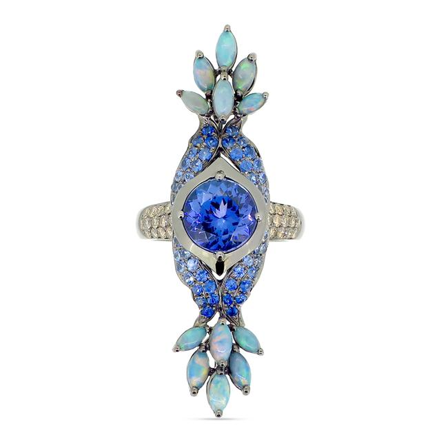 Swoonery-Tanzanite and Opal Peacock Ring