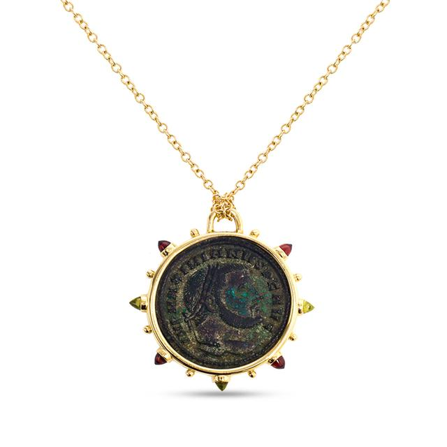 Swoonery-Empires Ancient Bronze Coin Medallion Necklace