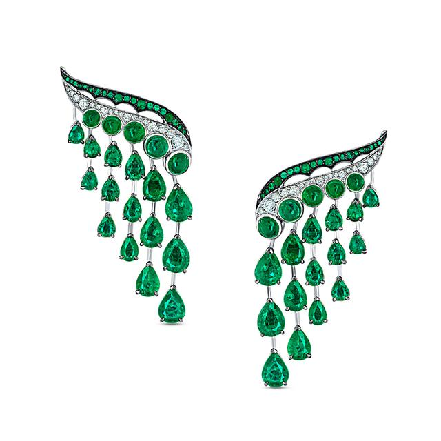 Swoonery-Legends Of Africa Dido Earrings In Diamonds And Emeralds