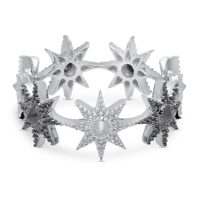 Swoonery-White and Black Gold Stars Infinity Inverted Ring