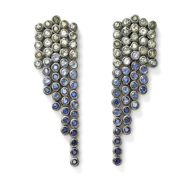 Swoonery-Ombre Sapphire Fringe Earrings