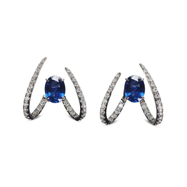 Swoonery-Le Phoenix Single Claw Blue Sapphire Earrings