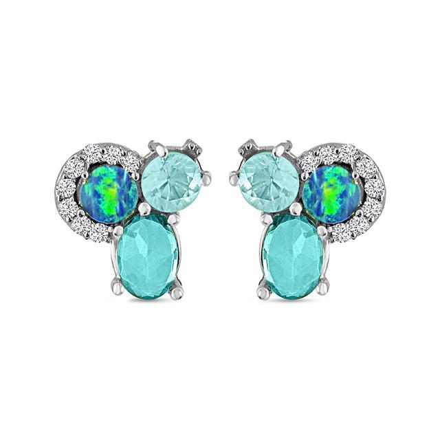 Swoonery- Boulder Opal and Topaz Stone Diamond Tri Stud