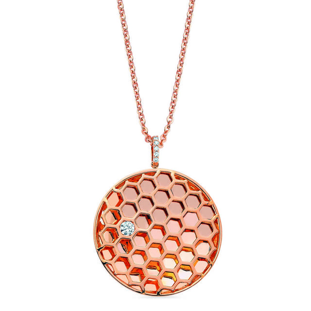 Swoonery-Queen Bee Honeycomb Circle Pendant