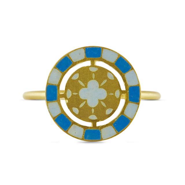 Swoonery-Blue And White Holi Enamel Ring