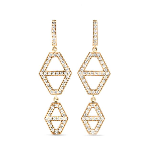 Swoonery-Keynes 2 Drop Diamond Hexagon Earring