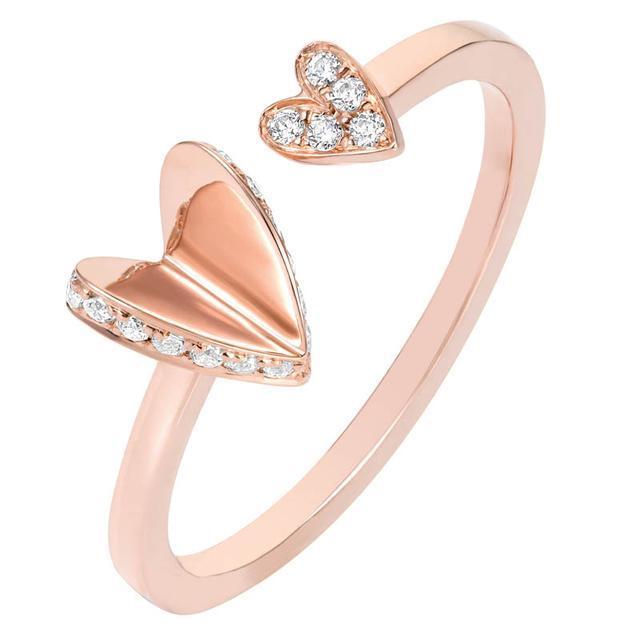 Swoonery-Diamond Flutter Heart Ring