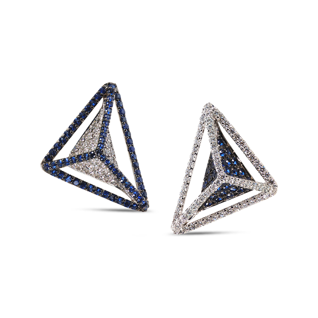 Swoonery-Reverse GeoArt Diamond and Blue Sapphire Earrings