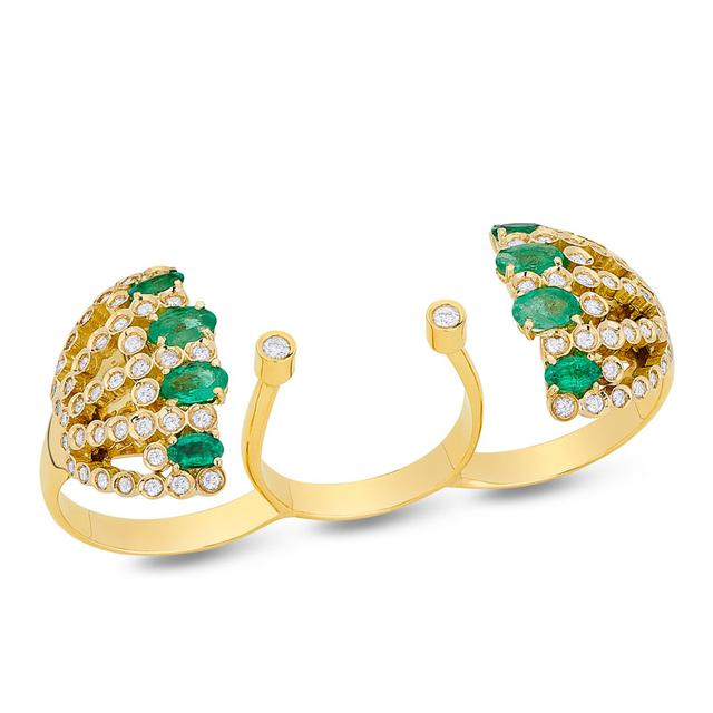 Swoonery-Petit Pois Triple Ring - Emerald