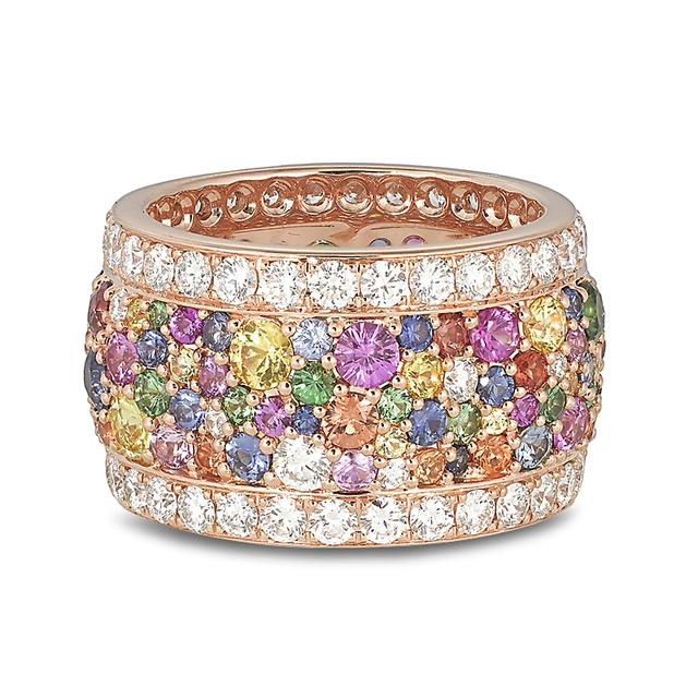 Swoonery-Legends Of Africa Ring In Multicolored Sapphires