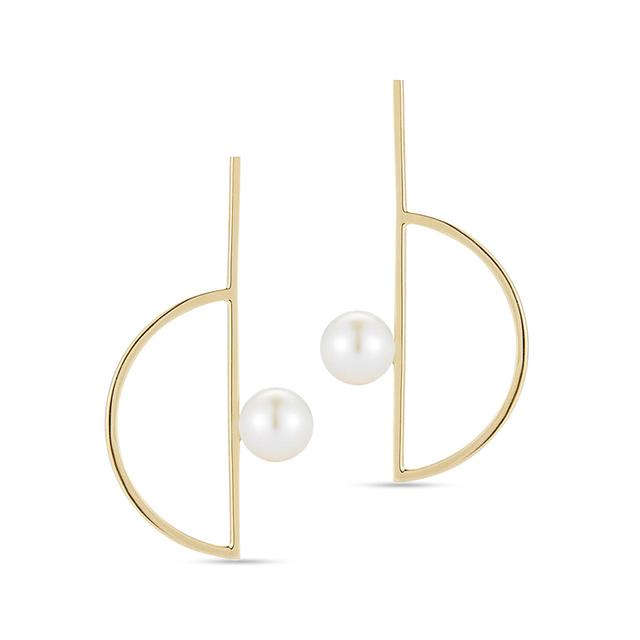 Swoonery-Pearl Semicircle Earring