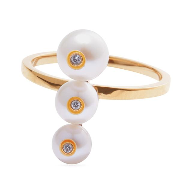 Swoonery-Menage a trois white pearl ring