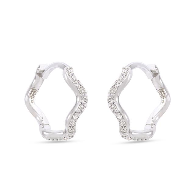 Swoonery-Wave Huggie Hoops with Diamond Pave