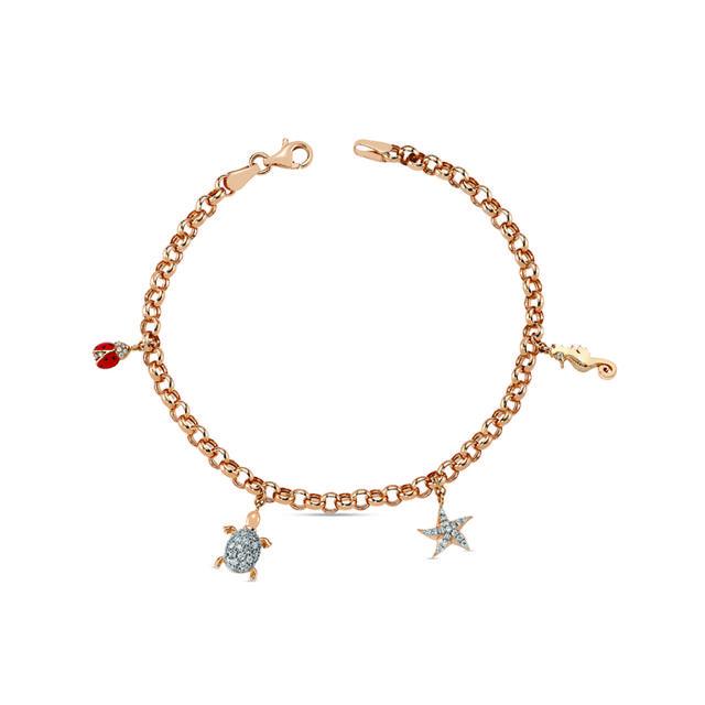 Swoonery-Aqua Light Charm Bracelet