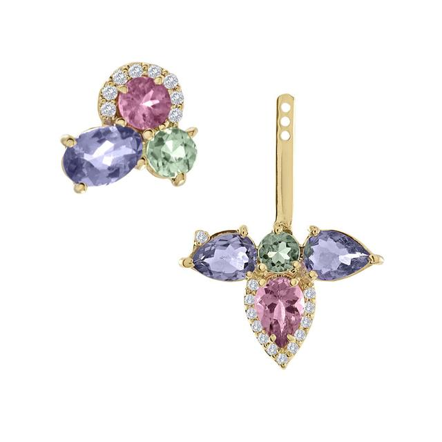 Swoonery-Tanzanite And Pink And Green Tourmaline Stud And Ear Jacket