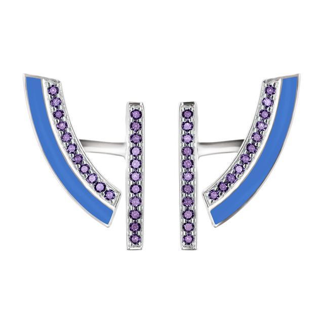 Swoonery-Demi-lune blue earrings