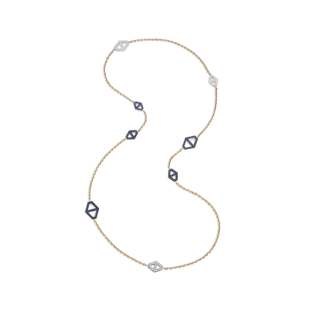 Swoonery-Keynes Diamond And Sapphire Signature Hexagon Necklace