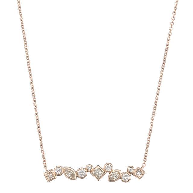 Swoonery-THROWING STONES DIAMOND BAR NECKLACE
