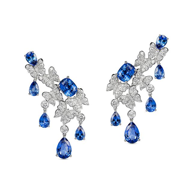Swoonery-Dancing Butterfly Earrings In Blue Sapphires And Diamonds