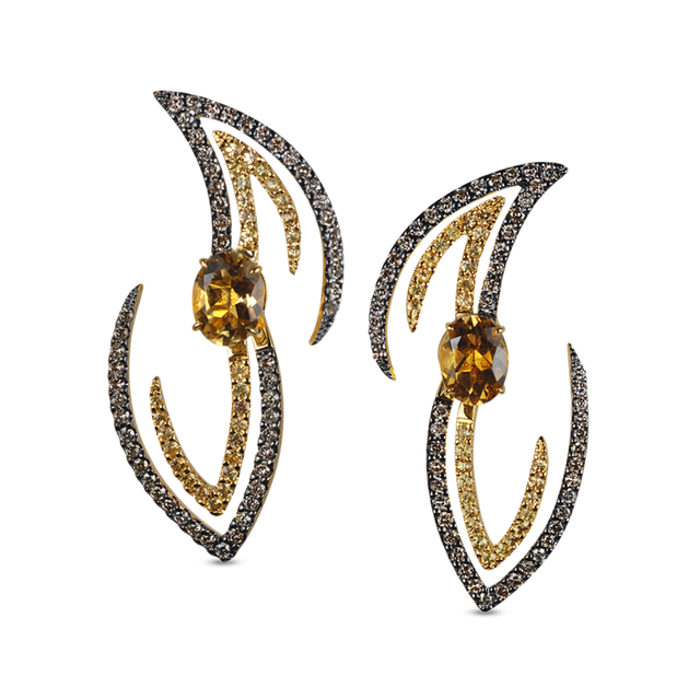 Swoonery-Le Phoenix Volare II Citrine and Brown Diamond Earrings