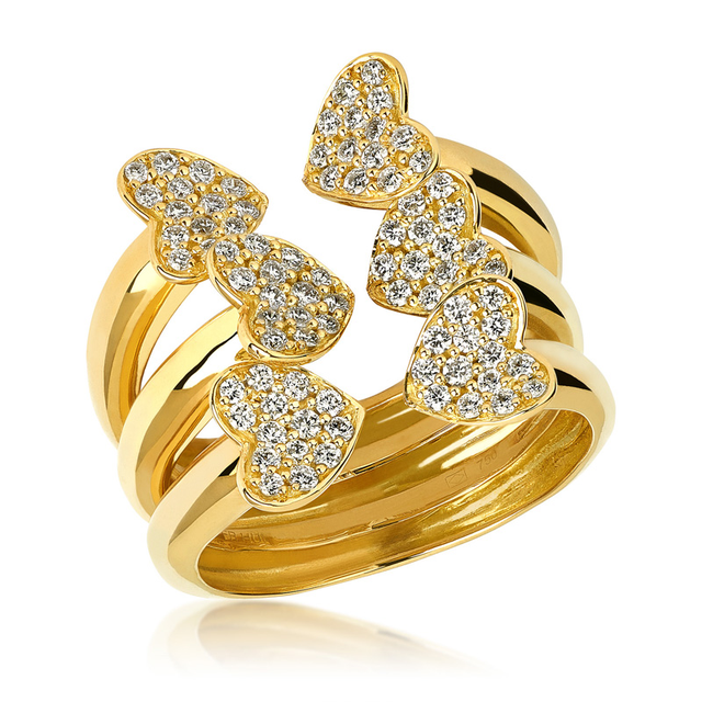 Swoonery-Big Yellow Gold Heart Ring
