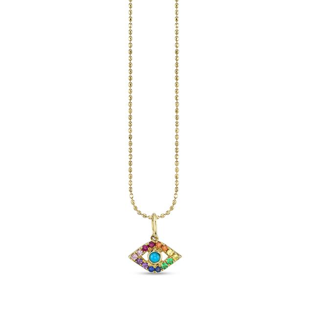 Swoonery-Small Bezel Evil Eye Rainbow Charm Necklace