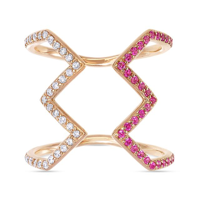 Swoonery-White and Pink Open Ziggy Ring set with Diamonds and Sapphires