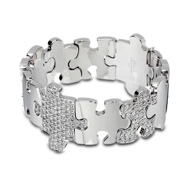 Swoonery-White Gold High Jewelry Puzzle Bracelet