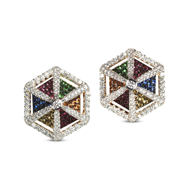 Swoonery-GeoArt Rainbow Sapphire Earrings
