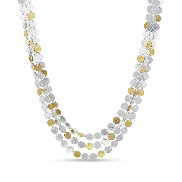 Swoonery-Lush Triple Strand Sterling Silver Necklace
