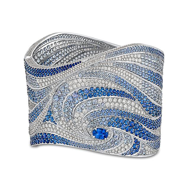Swoonery-Oceana Bangle In Diamonds And Blue Sapphires