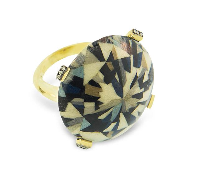 Swoonery-Marquetry Geometric Round Ring