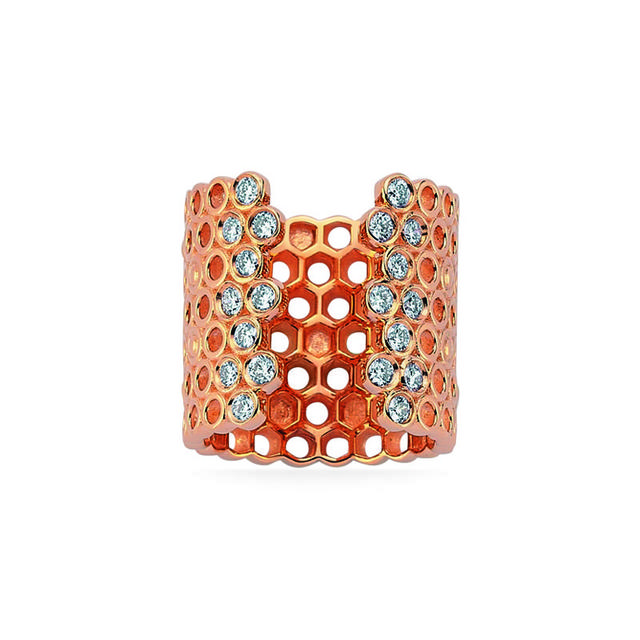 Swoonery-Queen Bee Honeycomb Midi Ring