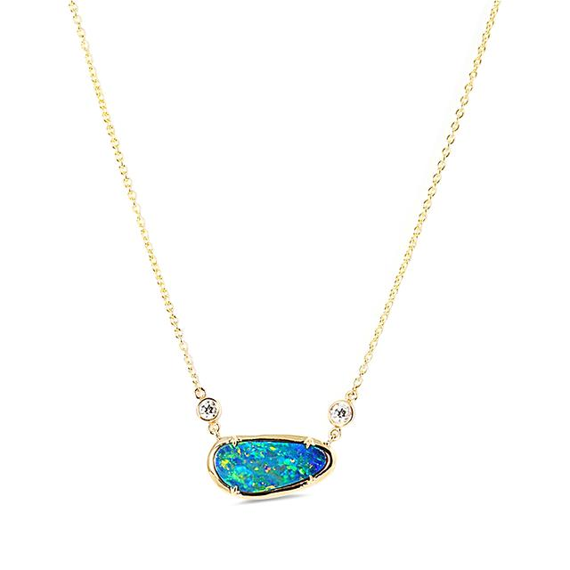 Swoonery-Petite Blue Opal Necklace