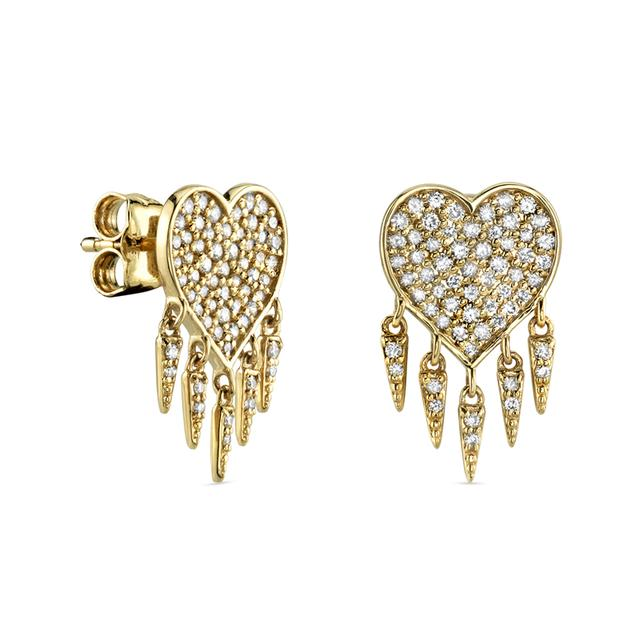 Swoonery-Pave Fringe Heart Studs