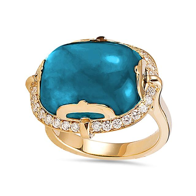 Swoonery-Rock-N-Roll Collection Cushion Cab Ring With Topaz