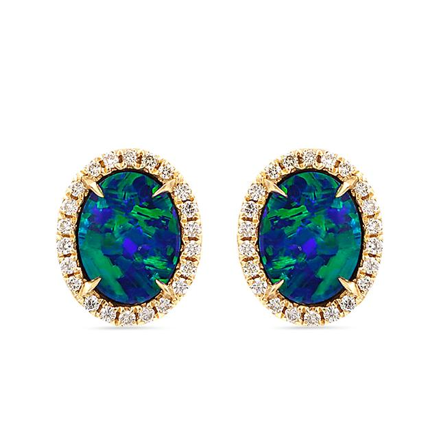 Swoonery-Blue Opal Stud Earrings