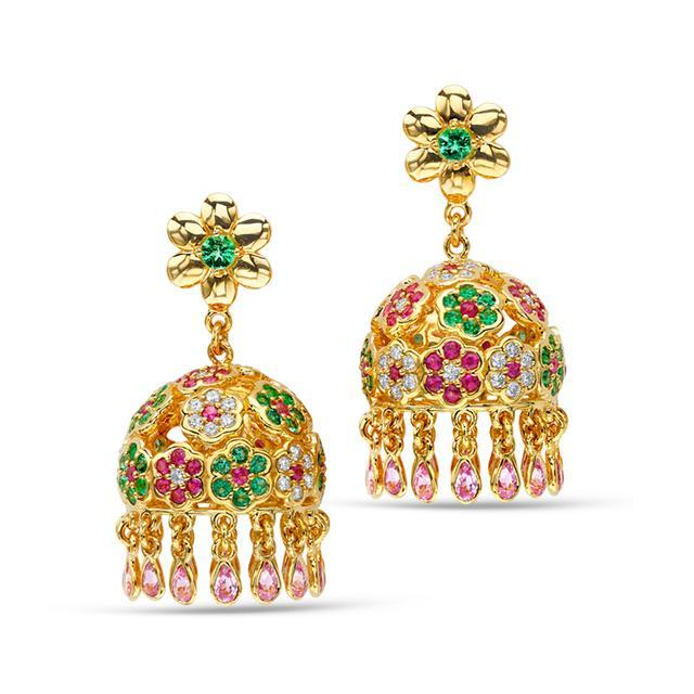 Swoonery-20K Flower Cluster Pagoda Earrings