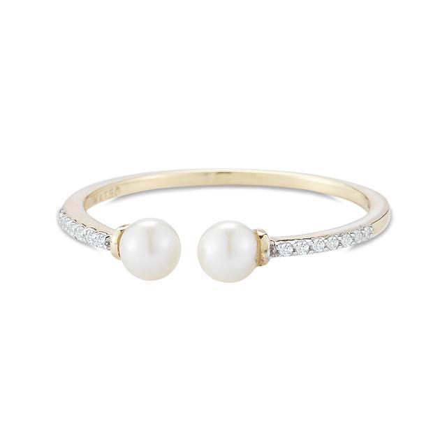 Swoonery-Duo Pearl & Diamond Ring