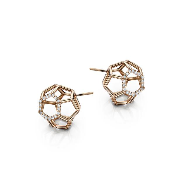 Swoonery-Air Sphere Rose Gold Earrings