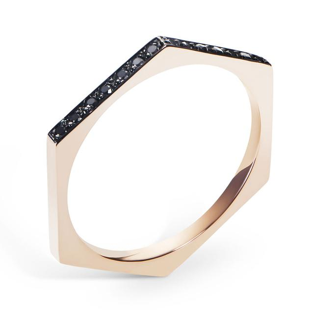 Swoonery-Black Diamond Hex Band