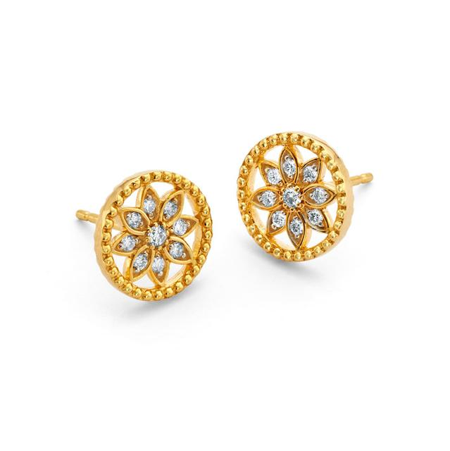 Swoonery-20K Mandala Beaded Stud Earrings