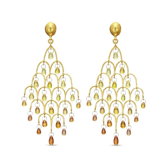 Swoonery-Orange and Yellow Sapphire Delicate Dew Chandelier Earrings