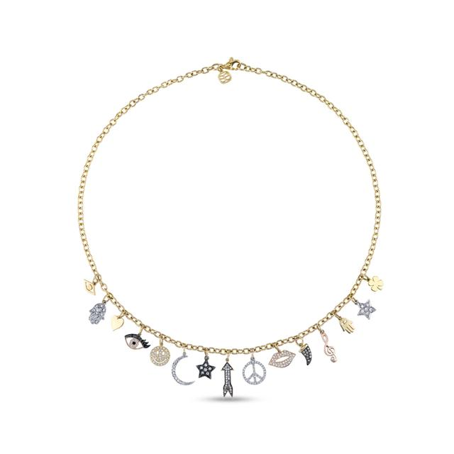 Swoonery-Gold and Diamond Multi-Charm Necklace
