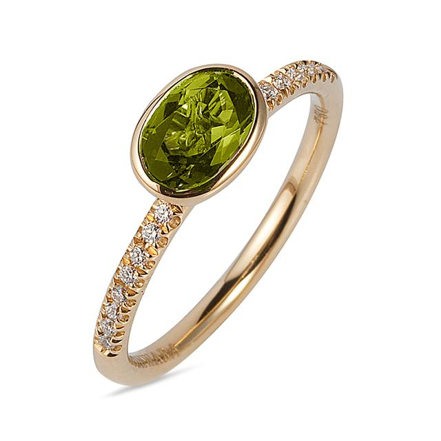 Swoonery-Gossip Collection Oval Stackable Ring With Peridot